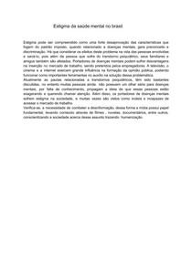 Estigma da saúde mental no brasil - redação