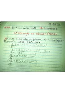 PROVA ALP2 CALCULO I (EXERCÍCIO 2)