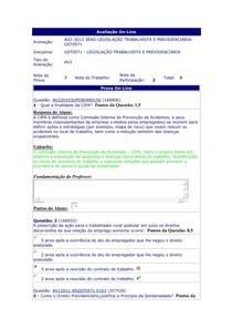 AV2 - Legislação Trabalhista e Previdenciária - 4º período
