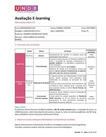 Avaliação E-learning - P1 HIDROLOGIA APLICADA 1