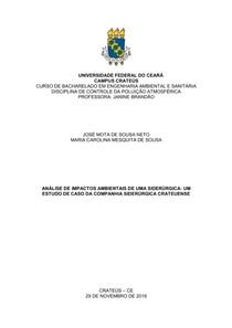 ANÁLISE DE IMPACTOS AMBIENTAIS DE UMA SIDERÚRGICA - UM ESTUDO DE CASO DA COMPANHIA SIDERÚRGICA CRATEUENSE