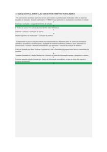 AVALIAÇÃO FINAL FORMAÇÃO E DESENVOLVIMENTO DE COLEÇÕES