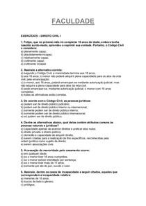 Exercícios Civil I