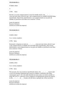 Modelo Telegrama Por Abandono De Emprego Contabilidade Ci