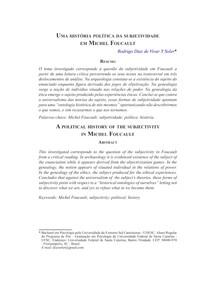 Uma história política da subjetividade em Michel Foucault