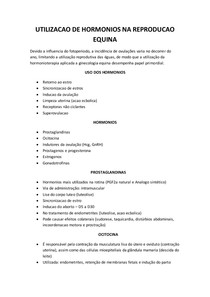 UTILIZACAO DE HORMONIOS NA REPRODUCAO EQUINA