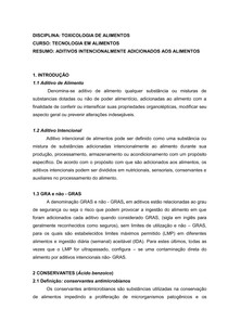 RESUMO_ADITIVOS_ALIMENTOS_TOXICOLOGIA_DE ALIMENTOS