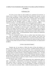 O IMPACTO DA PANDEMIA DO COVID 19 NAS RELAÇÕES INTERNAS DO BRICS