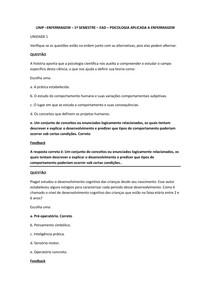 UNIP –ENFERMAGEM – 1º SEMESTRE – EAD – PSICOLOGIA APLICADA A ENFERMAGEM