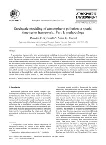 Stochastic modeling of atmospheric pollution a spatial time series framework. Part I methodology