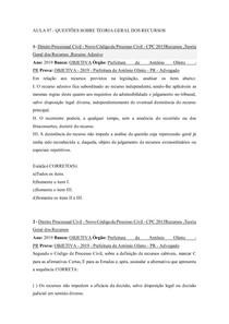 AULA 07 - Questões teoria geral dos recursos PARA ALUNOS