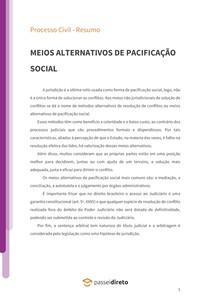 Meios alternativos de pacificação social - Resumo