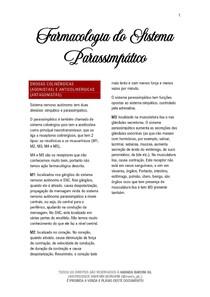 Farmacologia do Sistema Parassimpático - 01/2021 - Prof. Filiphe