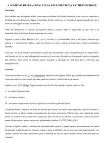 A LEGÍTIMA DEFESA COMO CAUSA EXCLUDENTE DA ANTIJURIDICIDADE -