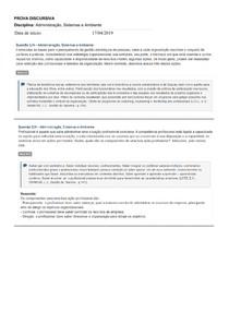 Prova Discursiva_Administração, Sistemas e Ambiente_Introdução à Teoria Geral da Administração