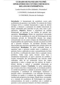 CUIDADO HUMANIZADO NO PRÉ-OPERATÓRIO DO CENTRO CIRÚRGICO