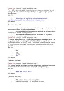 Questão 1-10 - Avaliação, Controle e Regulação no SUS