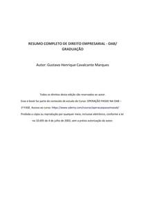 RESUMO COMPLETO DE DIREITO EMPRESARIAL - OAB/ GRADUAÇÃO