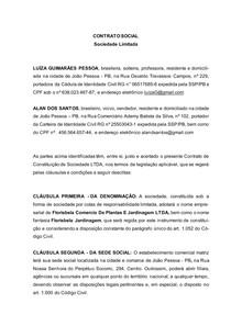 MODELO DE CONTRATO SOCIEDADE LTDA