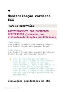 Monitorização cardíaca ECG eletrocardiograma