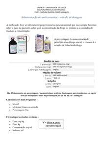 Administração de medicamentos cálculo de dosagem