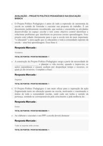 AVALIAÇÃO PROJETO POLÍTICO PEDAGÓGICO NA EDUCAÇÃO BÁSICA