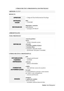 Código de Ética Profissional do Psicólogo | Mapa Mental