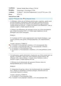 AVALIAÇÃO 1 FARMACOLOGIA UNIASSELVI