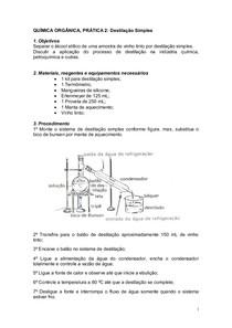 Prática 1 - Destilação Simples