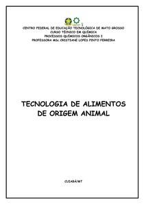 Apostila Tecnologia de Alimentos de Origem Animal PDF