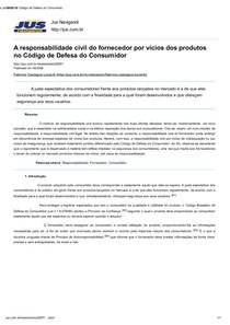 TEXTO II - A responsabilidade civil do fornecedor por vícios dos produtos no Código de Defesa do Consumidor - Revista Jus Navigandi - Doutrina e Peças
