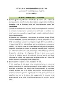 EXERCÍCIO DE MICROBIOLOGIA DE ALIMENTOS