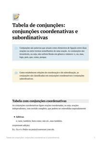 Tabela de conjunções coordenativas e subordinativas