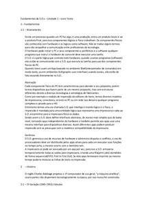 Fundamentos de Sistemas Operacionais - Unidade I - Resumo