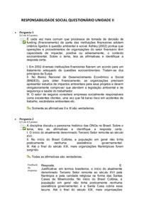 Questionário Unidade II
