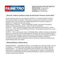 GenéricoXSimilar - BiodisponibilidadeXBioequivalência #Atividade