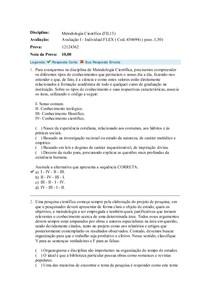 Avaliação I - Metodologia Científica (FIL13)