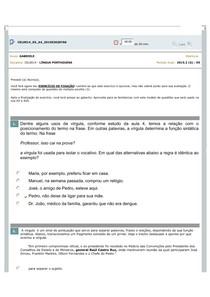LÍNGUA PORTUGUESA Avaliando aprendizado AULA 4