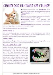 Cronologia Dentária em gatos - Resumo