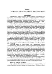 Elementos de Teoria Geral do Estado Dalmo de Abreu Dallari - SUFRÁGIO
