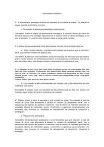 Questionário Unidade II - Princípios Básicos da Administração