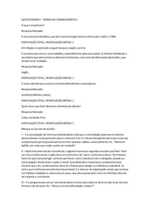 QUESTIONÁRIO I TEORIA DO CONHECIMENTO II