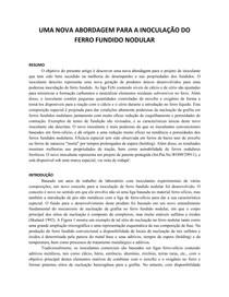 UMA NOVA ABORDAGEM PARA A INOCULAÇÃO DO FERRO FUNDIDO NODULAR