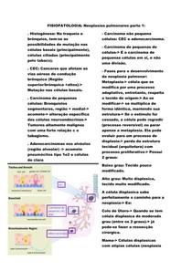 Neoplasias pulmonares: Adenocarcinoma e CEC.