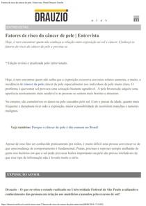 Fatores de risco do câncer de pele Entrevista Portal Drauzio Varella
