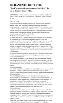 As ciências sociais e o processo histórico