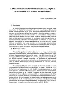 A BACIA HIDROGRÁFICA DO RIO PARNAÍBA - AVALIAÇÃO E MONITORAMENTO DOS IMPACTOS AMBIENTAIS