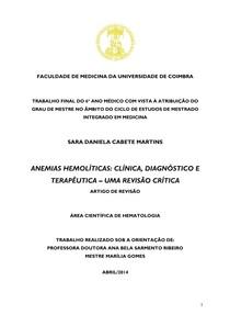 Anemias hemoliticas clinica diagnostico e terapeutica uma revisao critica