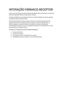 INTERAÇÃO FÁRMACO RECEPTOR