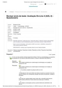 Avaliação On-Line 4 (AOL 4) Bromatologia